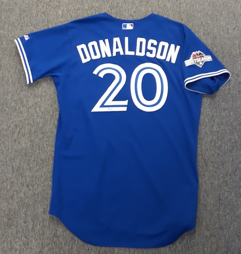 Photo of Authenticated Team Issued 2015 Postseason Jersey - #20 Josh Donaldson. Size 46.