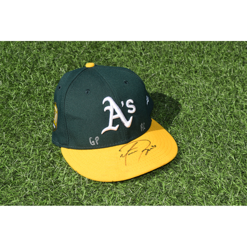 Photo of Oakland Athletics Game Used Autographed Matt Joyce 50th Anniversary Cap
