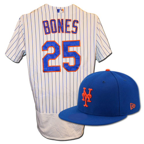 Photo of Ricky Bones #25 - Game Used White Pinstripe Jersey & Blue Hat - David Wright Start - Mets vs. Marlins - 9/29/18