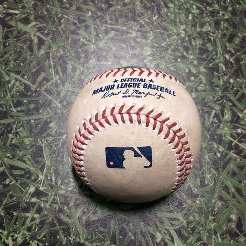Photo of Game-Used Baseball COL@MIL 05/02/19 - Freddy Peralta - Nolan Arenado: Single