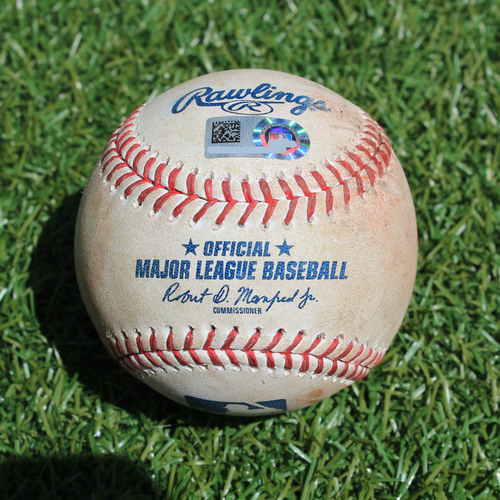 Photo of Game-Used Baseball: Greg Allen 101st Career Hit (CLE @ KC - 7/28/19)