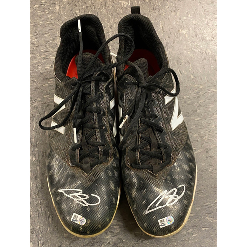 Photo of 2019 Holiday Sale - 2019 Autographed Team Issued Cleats signed by #53 Austin Slater - Black New Balance Cleats - Size 12