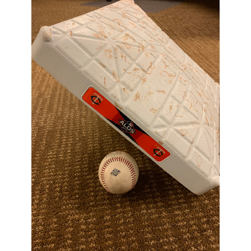 Photo of 2019 ALDS Game-Used Baseball and Base