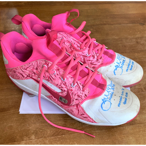 Photo of James McCann 2018 Game Worn and Autographed Pink Mother's Day Baseball Cleats (MLB AUTHENTICATED)