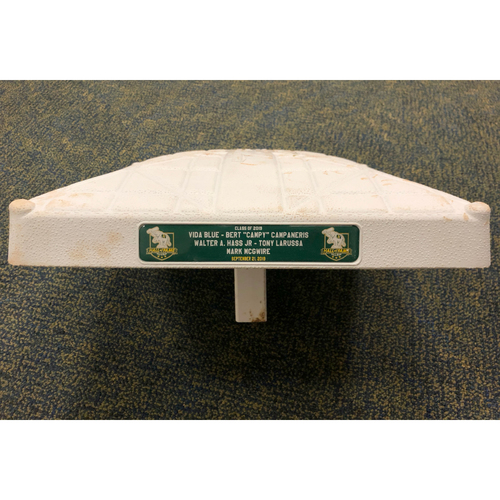"Photo of Game-Used Base (A's HOF Class of 2019) - 3B (inn 7-9) - 9/21/19 vs TEX - A's won 12-3 - Inductees: Vida Blue, Bert ""Campy"" Campaneris, Walter A. Hass, Tony LaRussa & Mark McGwire"