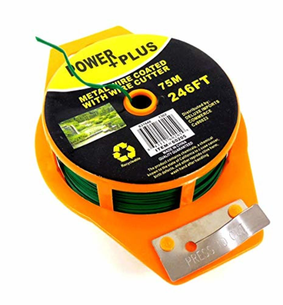 Photo of Plant Twist Tie 246 Ft w/Cutter, Sturdy Green Coated Wire