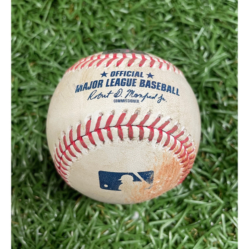 Photo of Game Used Baseball: Lewis Brinson double off Aaron Slegers - Top 7 - September 5, 2020 v MIA