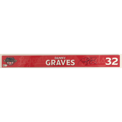 Photo of Danny Graves - Game-used and Autographed Locker Name Plate: 2021 Cincinnati Reds Hall of Fame Legends Game