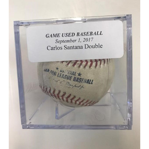 Game-Used Baseball: Carlos Santana Double