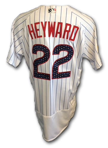 Photo of Jason Heyward Stars and Stripes Game-Used Jersey -- Tigers vs. Cubs -- 7/3/18