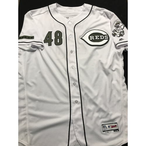 Photo of Jared Hughes - Game-Used - Military Appreciation Jersey (Worn 2018) - 8/10 1 IP, 0 ER