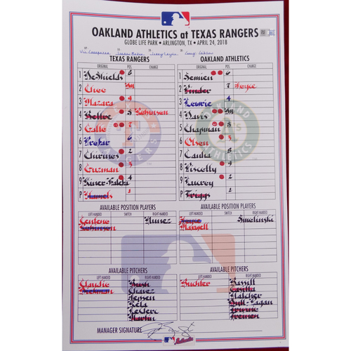 Athletics at Rangers - 4/24/18 - Game-Used Lineup Card
