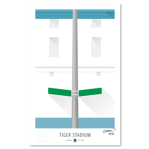 Photo of Tiger Stadium - Collector's Edition Minimalist Art Print by S. Preston #119/350  -Detroit Tigers