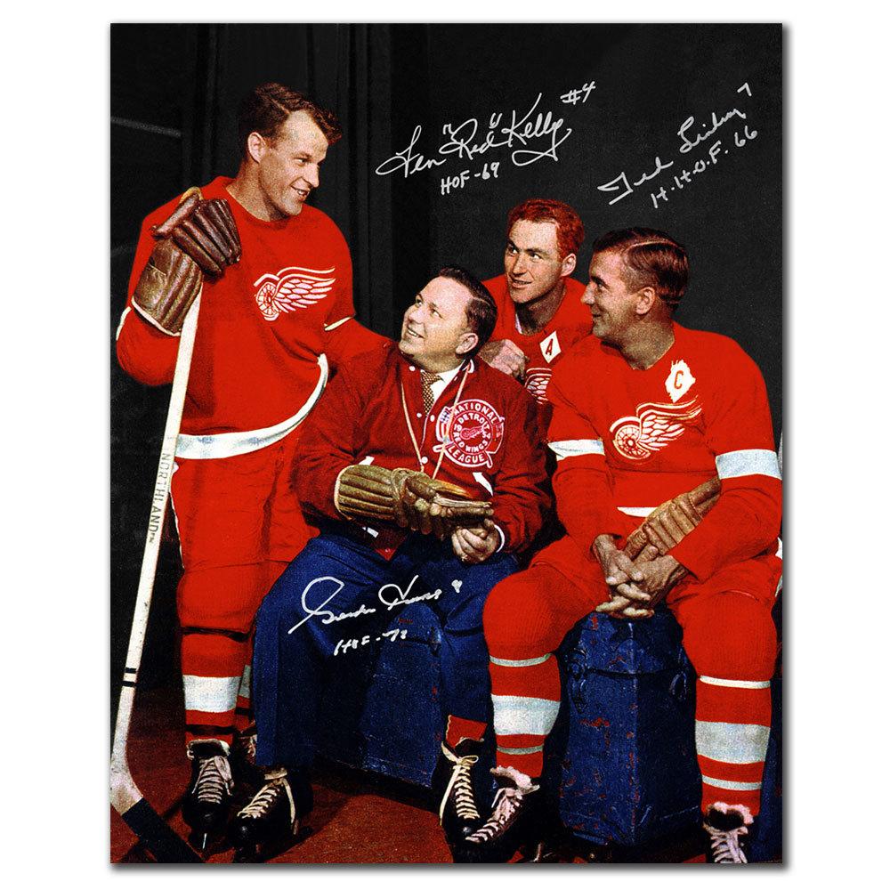 Gordie Howe Red Kelly & Ted Lindsay Detroit Red Wings HOF Triple Signed 16x20