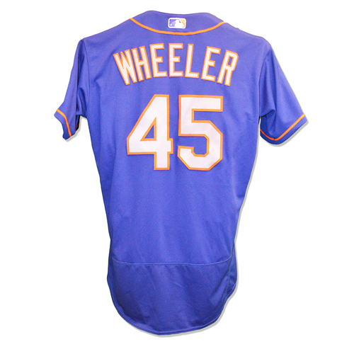 Photo of Zack Wheeler #45 - Team Issued Blue Alt. Road Jersey - 2018 Season