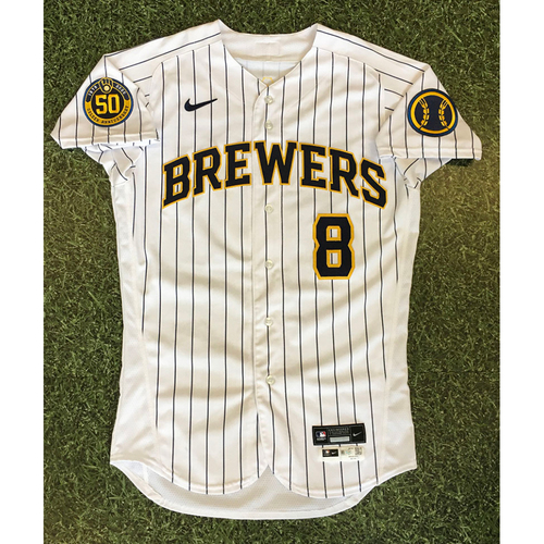 Photo of Ryan Braun 2020 Team-Issued Home Pinstripe Jersey (Authenticated 09/11/20 - Game-Winning RBI Sacrifice Fly)