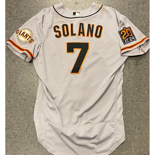 Photo of 2020 Game Used Road Gray Jersey worn by #7 Donovan Solano on 7/25 vs. LAD - 1-5, 2 RBI, 2B - Size 46