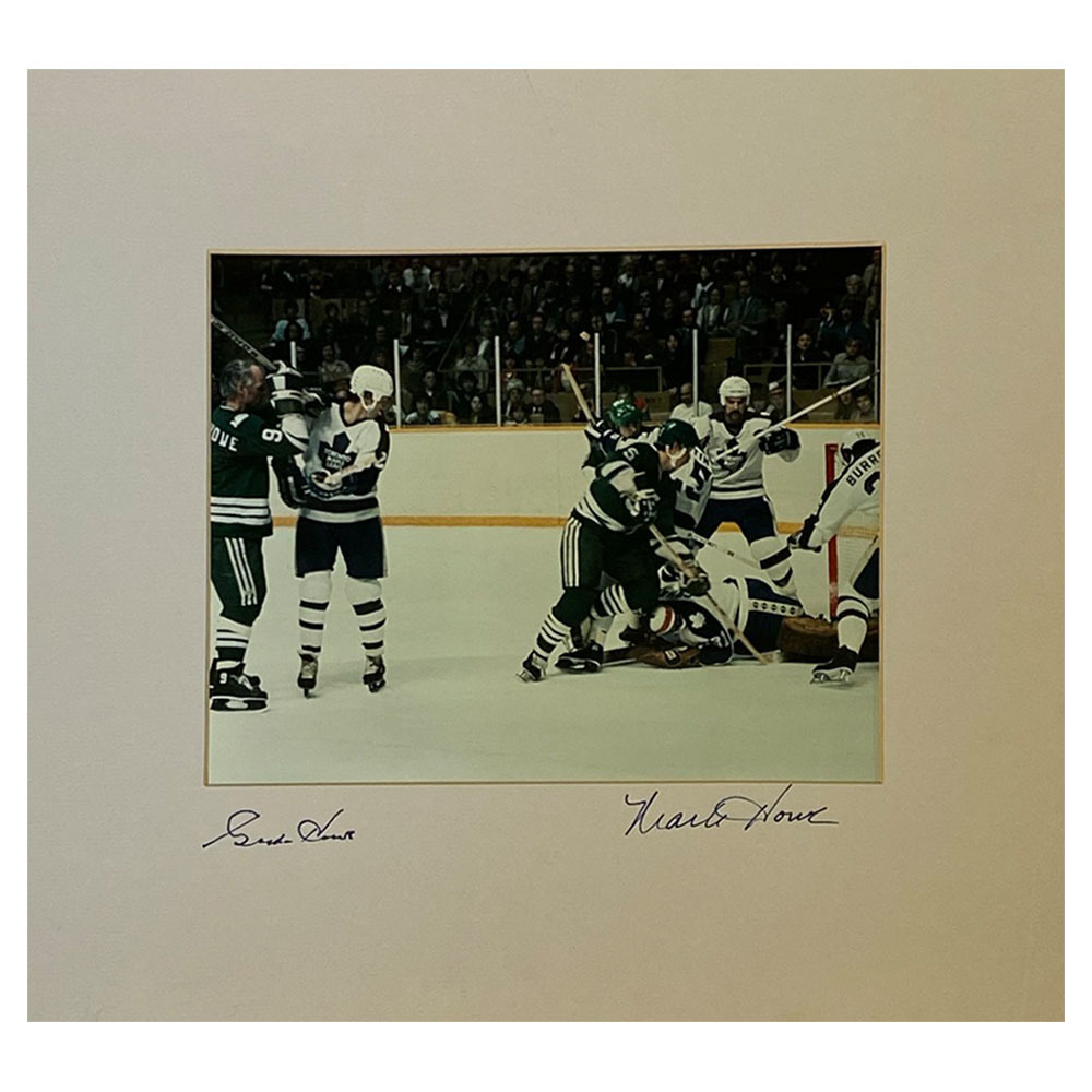 Gordie & Mark Howe Autographed Hartford Whalers Matted 8X10 Photo