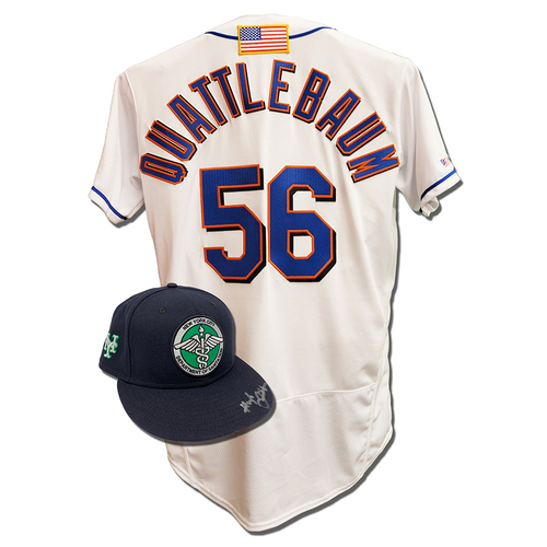 Photo of Hugh Quattlebaum #56 - Autographed Game Used First Responder Hat and Game Used White Commemorative Jersey with American Flag Patch - Mets vs. Yankees - 9/11/2021