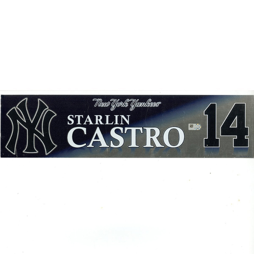 Photo of Starlin Castro New York Yankees 2017 Game-Used #14 Locker Room Nameplate (9/28/2017)