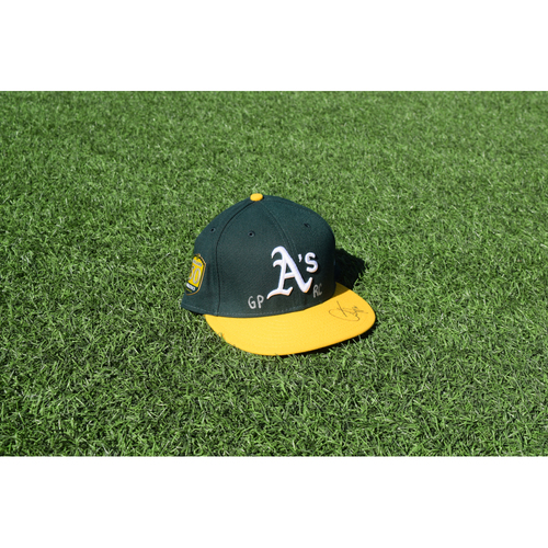 Photo of Oakland Athletics Game Used Autographed Andrew Triggs 50th Anniversary Cap