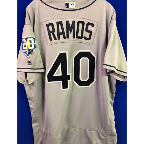 Photo of 20th Anniversary Game Used Road Gray Jersey: Wilson Ramos - #99 & #100 Career Home Run Hit Jersey