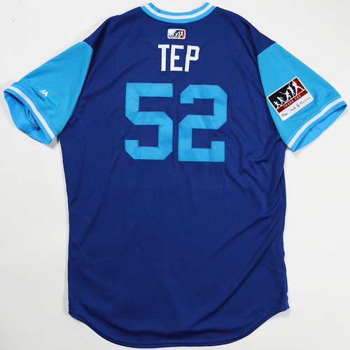 "Photo of Ryan ""Tep"" Tepera Toronto Blue Jays Game-Used Jersey 2018 Players' Weekend Jersey"