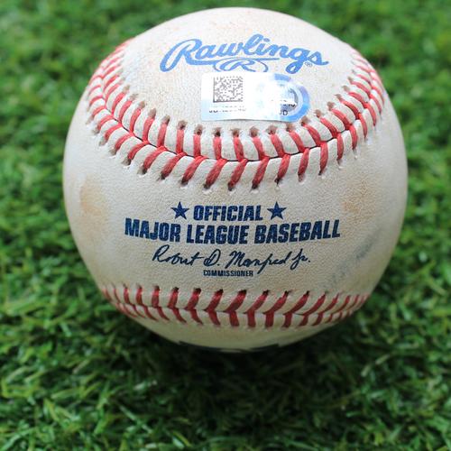 Photo of Game-Used Baseball: Domingo Santana 322nd Career Hit (SEA @ KC - 4/9/19)