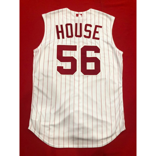 Photo of J.R. House -- Game-Used 1995 Throwback Jersey & Pants -- D-backs vs. Reds on Sept. 8, 2019 -- Jersey Size 46 / Pants Size 36-40-36