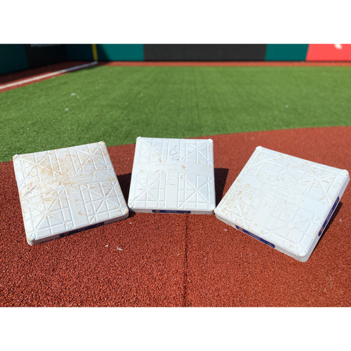 Photo of Game-Used Autographed Retirement Night Bases Set- Jimmy Rollins, Chase Utley, Ryan Howard
