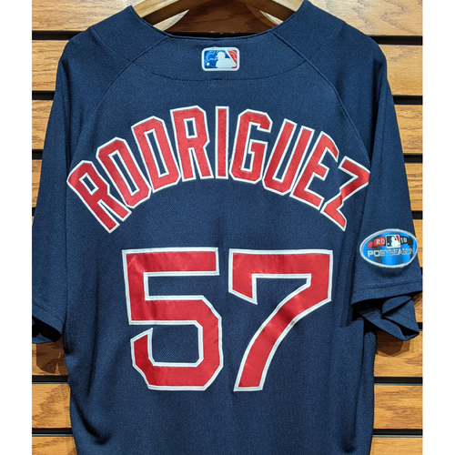 Photo of 2018 Postseason Eduardo Rodriguez #57 Team Issued Navy Road Alternate Jersey