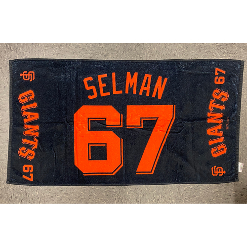 "Photo of 2020 Team Issued Player Towel - #67 Sam Selman - Towel Measurements - 40""x20"""