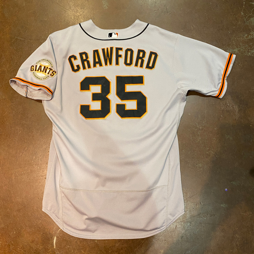 Photo of 2021 Game Used Road Jersey worn by #35 Brandon Crawford on 4/1 @ SEA - 2021 Opening Day - 4/6 @ SD - HR - 5/14 @ PIT - HR - 5/15 @ PIT - HR - 5/18 @ CIN - HR - 5/20 @ CIN - HR & 5/25 @ ARI - Size 48