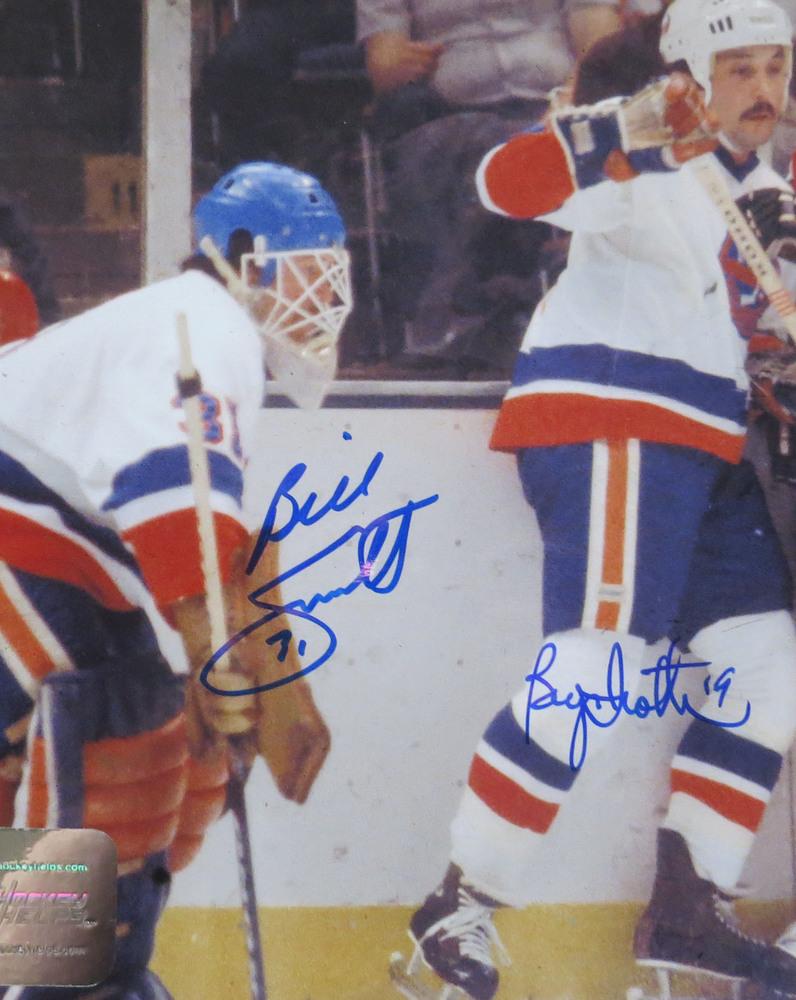 Billy Smith & Bryan Trottier DUAL Signed New York Islanders 8x10