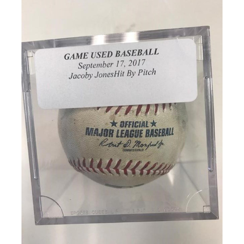 Game-Used Baseball: JaCoby Jones Hit By Pitch