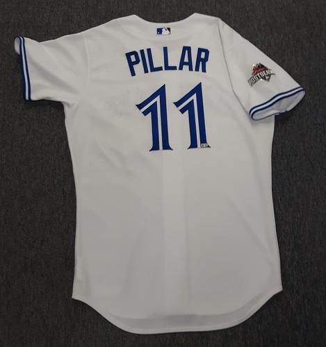 Photo of Authenticated Team Issued Postseason Jersey - #11 Kevin Pillar (2015 Postseason). Size 46.
