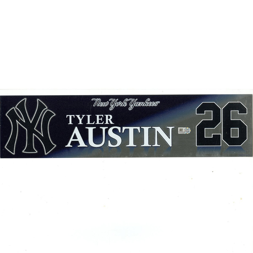 Photo of Tyler Austin New York Yankees 2017 Game-Used #26 Locker Room Nameplate (9/28/2017)