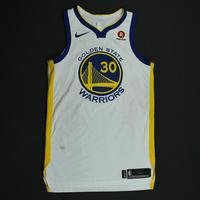 Stephen Curry - Golden State Warriors - 2018 NBA Finals - Game 1 - Game-Worn White Jersey - Team-High 29 Points