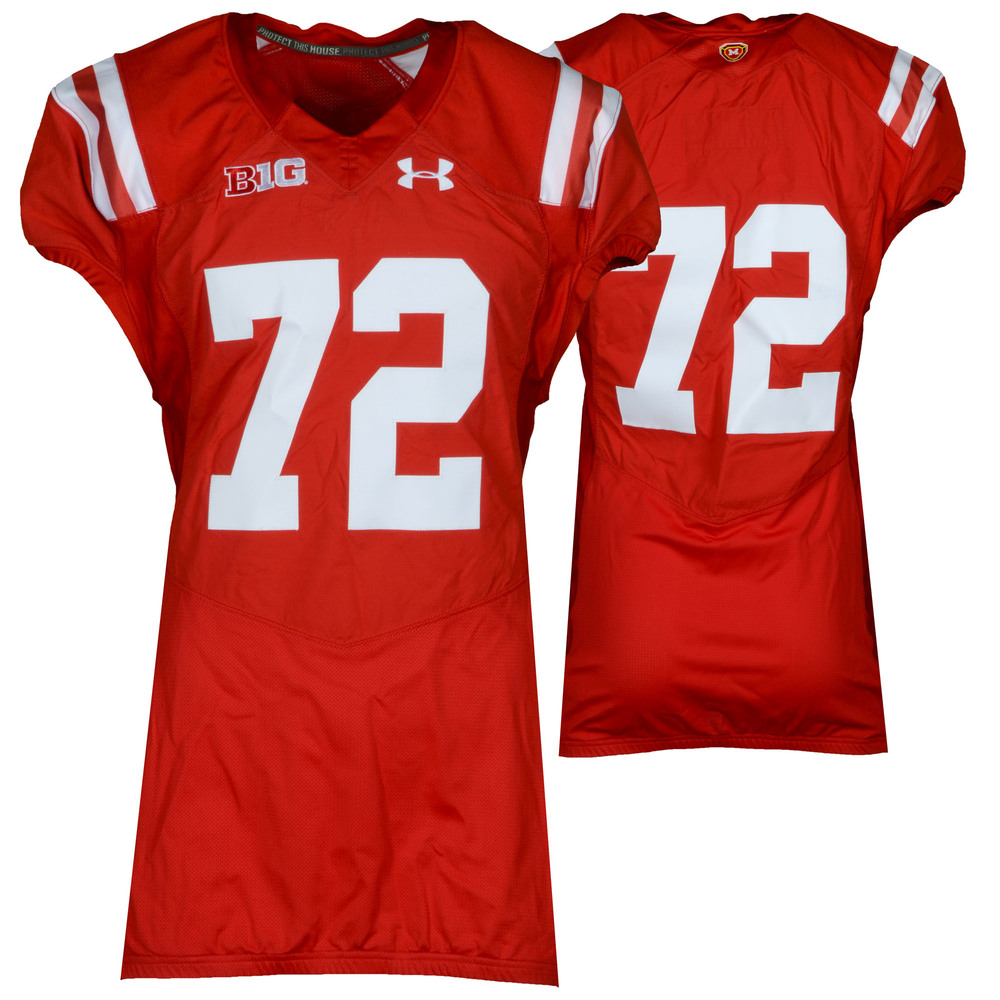 Maryland Terrapins Team-Issued #72 Red Throwback Jersey - Size 46