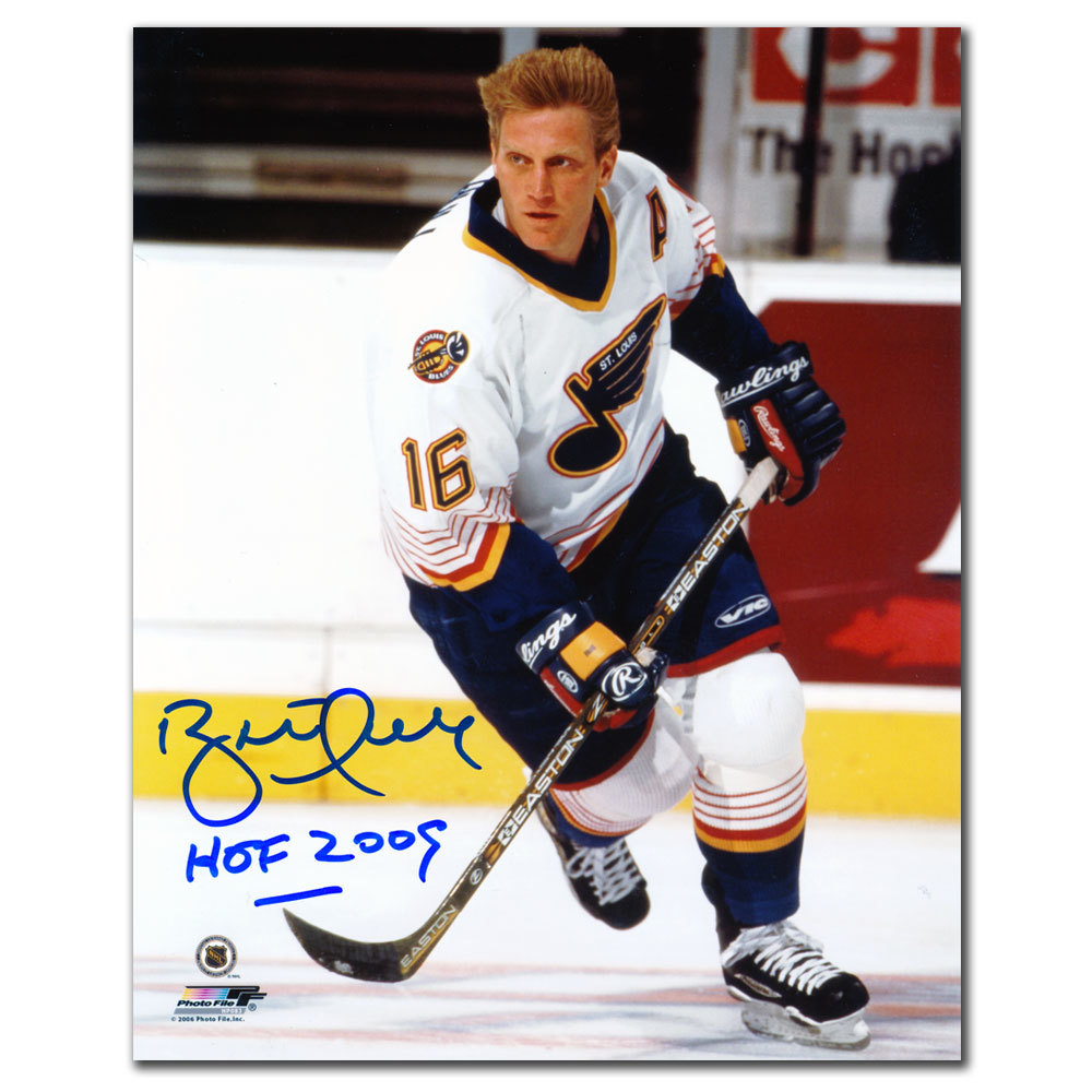 Brett Hull St. Louis Blues WHITE JERSEY Autographed 8x10