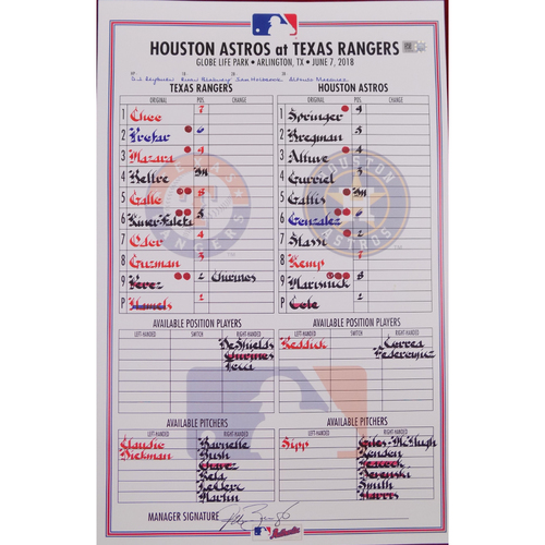 Astros at Rangers - 6/7/18 - Game-Used Lineup Card