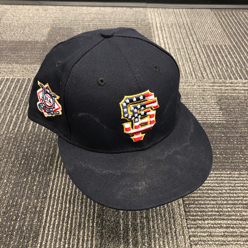 Photo of 2018 Game-Used Stars & Stripes 4th of July Cap worn by #56 Tony Watson