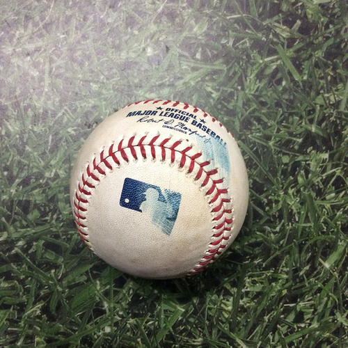Photo of Game-Used Baseball NYM@MIL 05/05/19 - Josh Hader - Pete Alonso: Strikeout