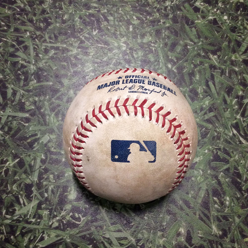 Photo of Game-Used Baseball WSH@MIL 05/07/19 - Stephen Strasburg - Freddy Peralta: Single