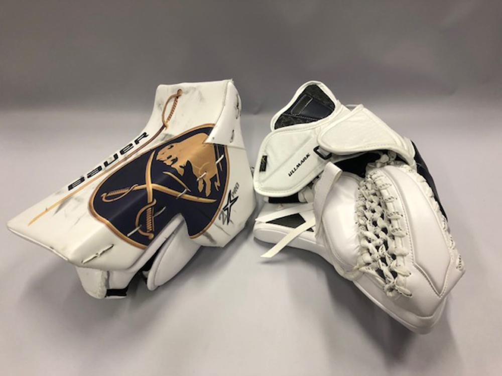 Linus Ullmark Buffalo Sabres 50th Season Uniform Game-Worn Goalie Blocker and Glove