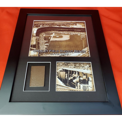 Photo of Framed Piece of Crosley Field Dugout Bench (Number 39 of 150)