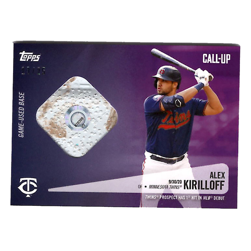 Photo of Alex Kirilloff #19 - Limited Edition of 25 Purple Topps Card - Features Authenticated Game Used Base from MLB Debut during 2020 Wild Card Game on 9/30/19 vs. Houston Astros