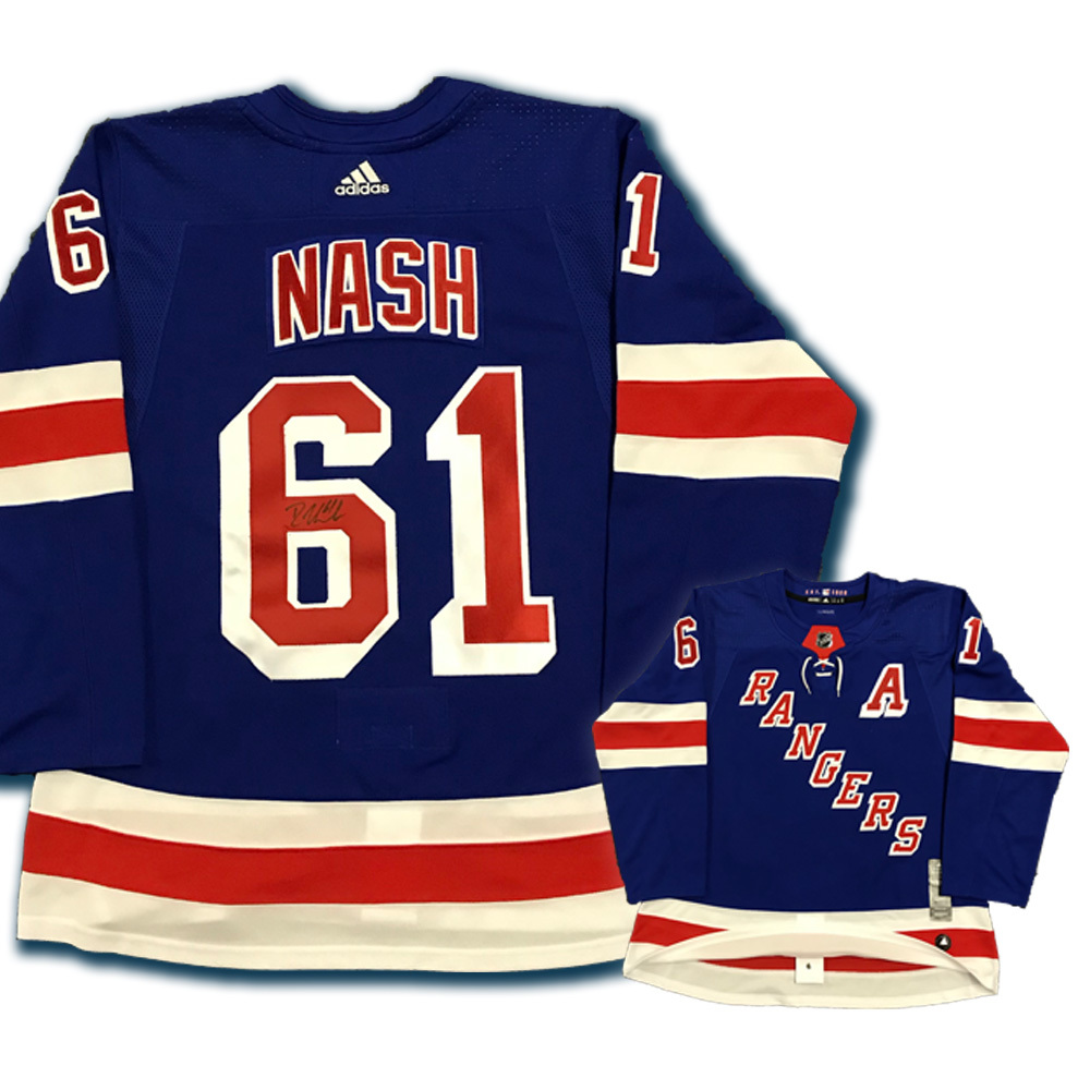 RICK NASH Signed New York Rangers PRO Blue Adidas Jersey