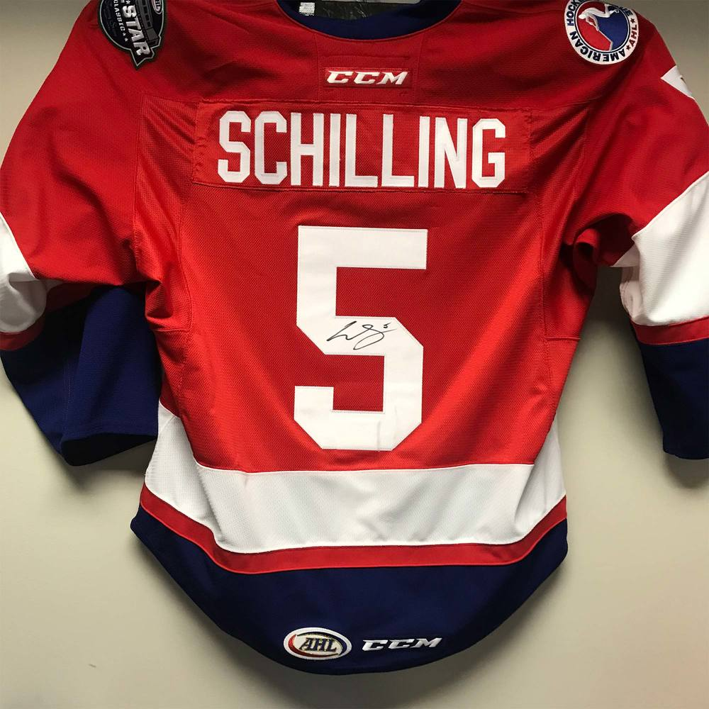 2018 AHL All-Star Challenge Warm-Up Jersey Worn and Signed by #5 Cameron Schilling