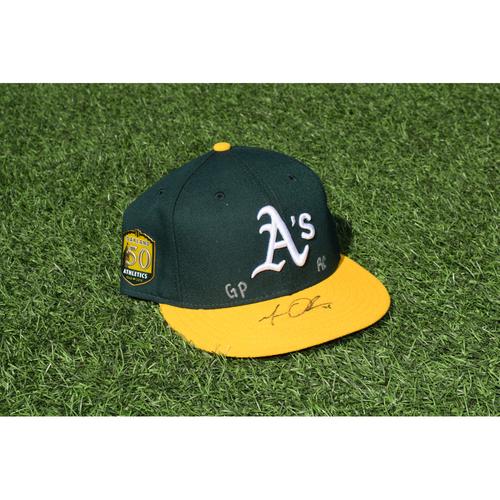 Photo of Oakland Athletics Game Used Autographed Matt Olson 50th Anniversary Cap